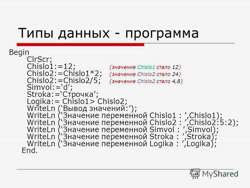 Типы данных - программа Begin ClrScr; Chislo1:=12; {значение Chislo1 стало 12} Chislo2:=Chislo1*2; {значение Chislo2 стало 24} Chislo2:=Chislo2/5; {значение Chislo2 стало 4,8} Simvol:=d; Stroka:=Строчка; Logika:= Chislo1> Chislo2; WriteLn (Вывод знач