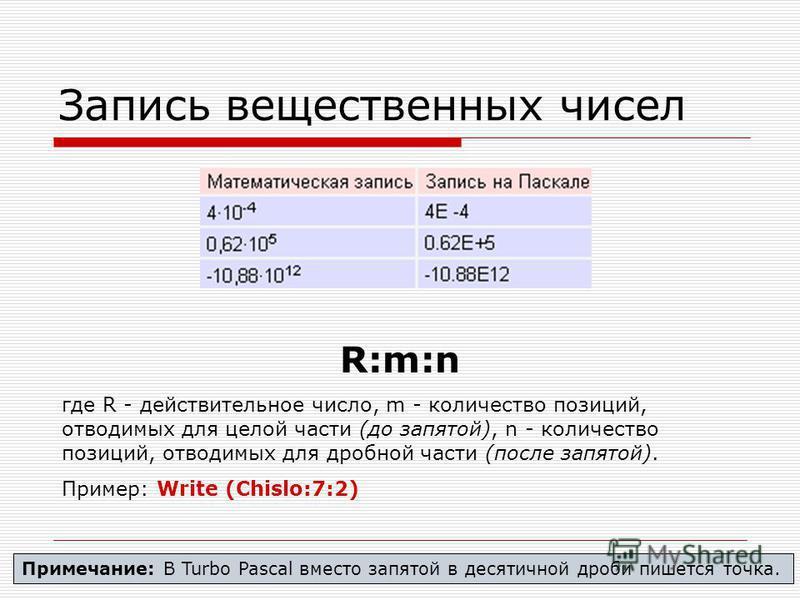 Запись вещественных чисел R:m:n где R - действительное число, m - количество позиций, отводимых для целой части (до запятой), n - количество позиций, отводимых для дробной части (после запятой). Пример: Write (Chislo:7:2) Примечание: В Turbo Pasсal в