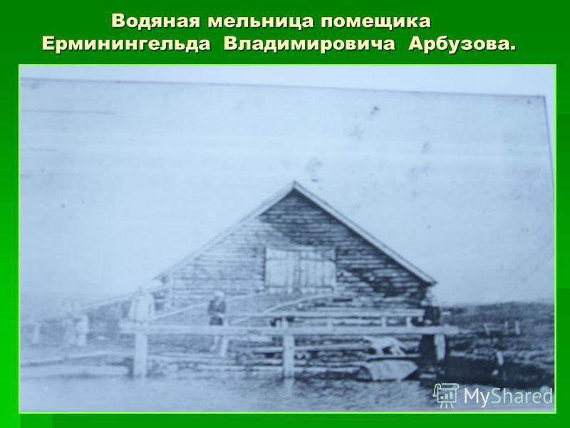Водяная мельница помещика Ерминингельда Владимировича Арбузова. Водяная мельница помещика Ерминингельда Владимировича Арбузова.