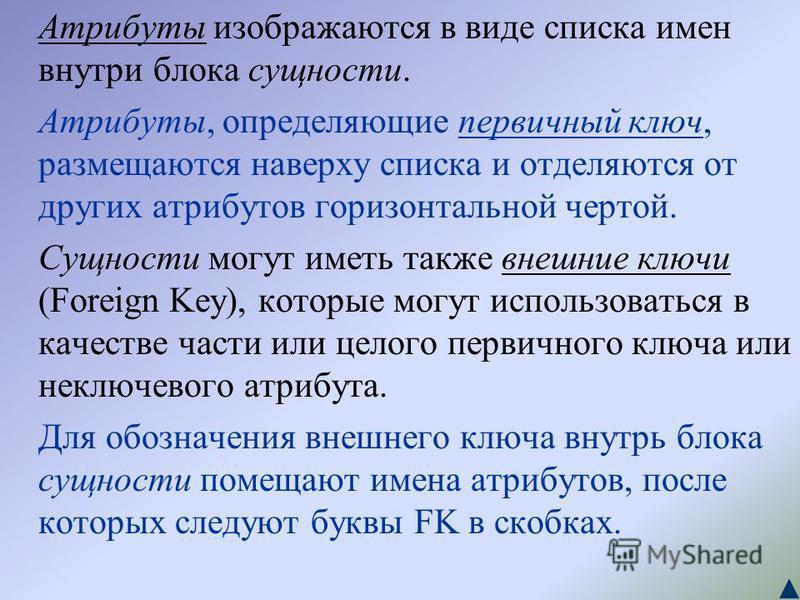 Атрибуты изображаются в виде списка имен внутри блока сущности. Атрибуты, определяющие первичный ключ, размещаются наверху списка и отделяются от других атрибутов горизонтальной чертой. Сущности могут иметь также внешние ключи (Foreign Key), которые