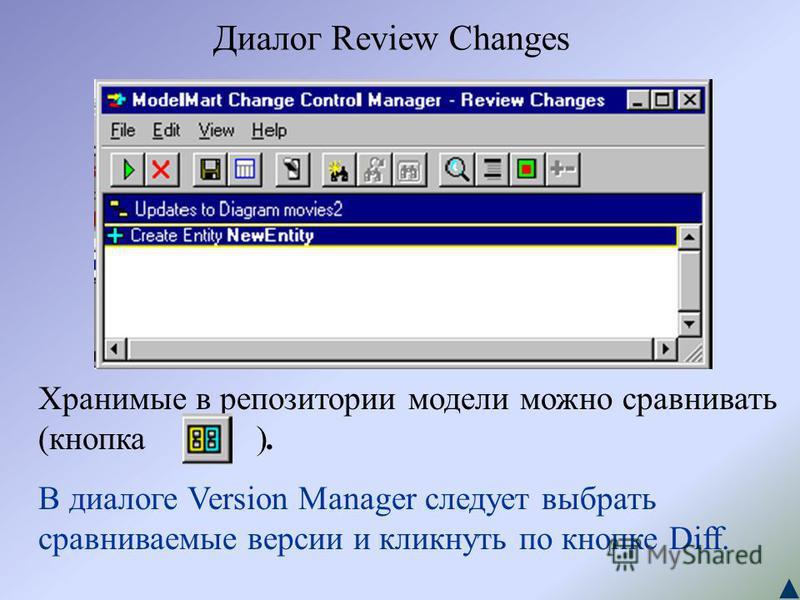 Диалог Review Changes Хранимые в репозитории модели можно сравнивать (кнопка ). В диалоге Version Manager следует выбрать сравниваемые версии и кликнуть по кнопке Diff.