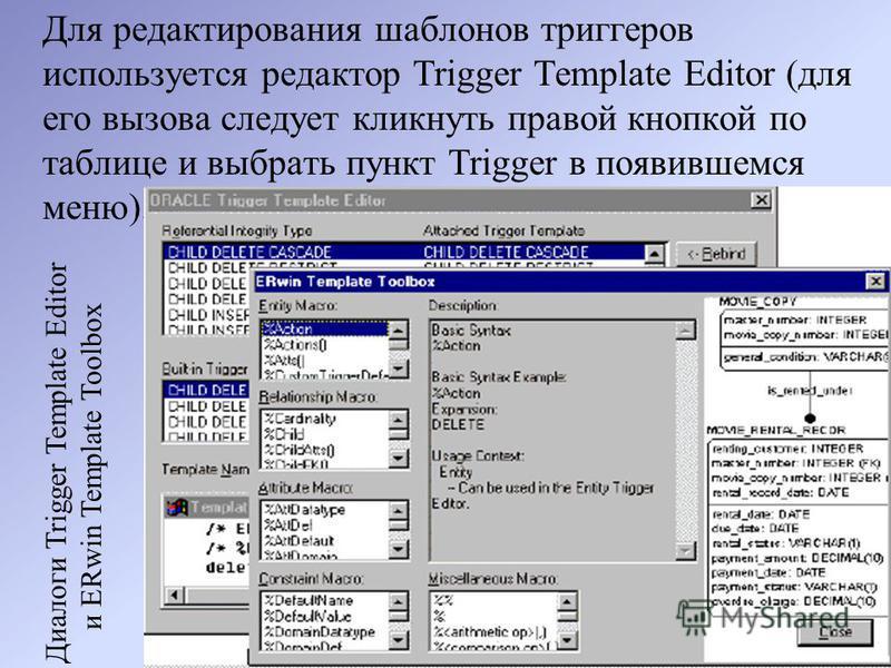 Для редактирования шаблонов триггеров используется редактор Trigger Template Editor (для его вызова следует кликнуть правой кнопкой по таблице и выбрать пункт Trigger в появившемся меню). Диалоги Trigger Template Editor и ERwin Template Toolbox