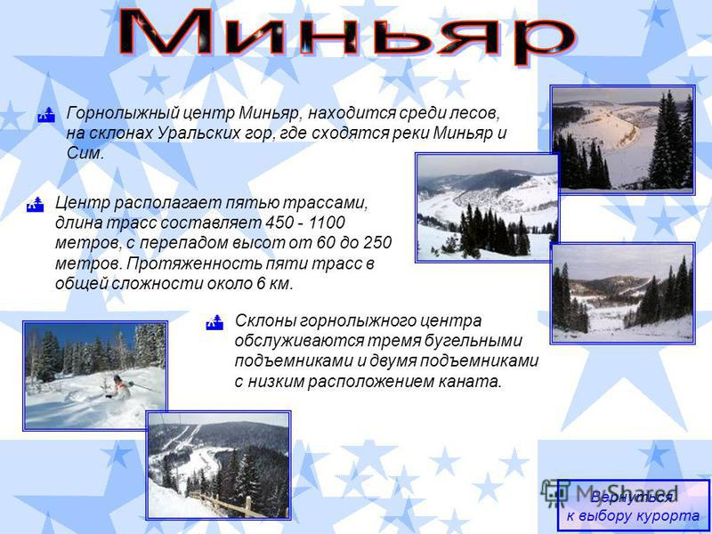 Горнолыжный центр Миньяр, находится среди лесов, на склонах Уральских гор, где сходятся реки Миньяр и Сим. Вернуться к выбору курорта Центр располагает пятью трассами, длина трасс составляет 450 - 1100 метров, с перепадом высот от 60 до 250 метров. П