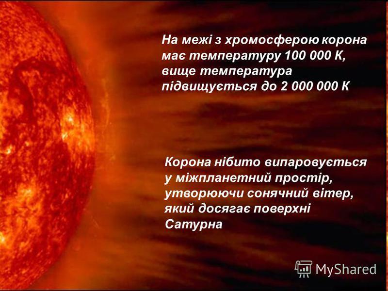 Сонячна корона – зовнішній шар сонячної атмосфери, який поширюється у просторі на декілька сонячних радіусів Сріблясто-перлинне променисте сяйво, яке можна спостерігати тільки під час повного сонячного затемнення Вигляд корони залежить від ступеню ак