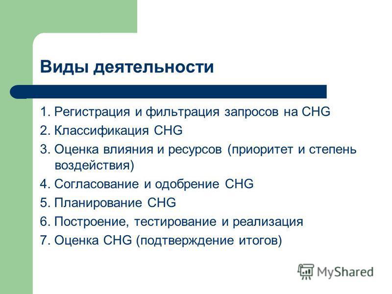 Виды деятельности 1. Регистрация и фильтрация запросов на CHG 2. Классификация CHG 3. Оценка влияния и ресурсов (приоритет и степень воздействия) 4. Согласование и одобрение CHG 5. Планирование CHG 6. Построение, тестирование и реализация 7. Оценка C