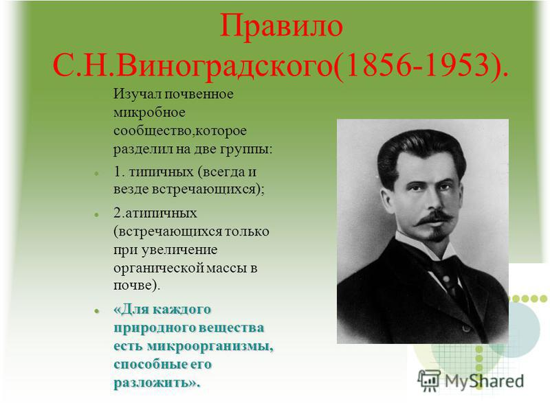 Правило С.Н.Виноградского(1856-1953). Изучал почвенное микробное сообщество,которое разделил на две группы: 1. типичных (всегда и везде встречающихся); 2. атипичных (встречающихся только при увеличение органической массы в почве). «Для каждого природ