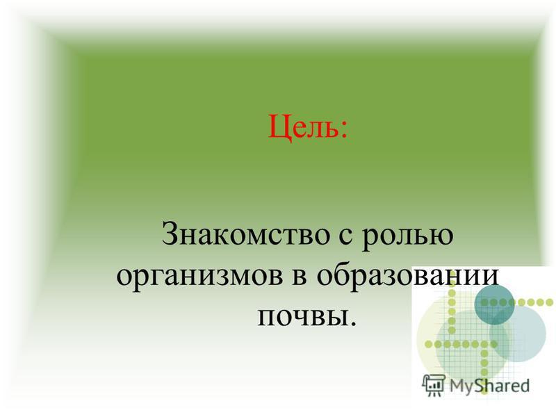 Цель: Знакомство с ролью организмов в образовании почвы.