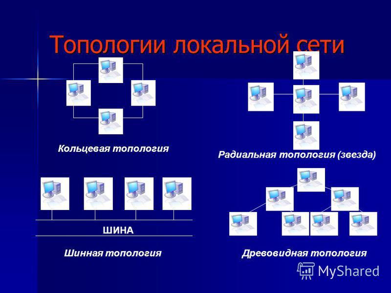 Топологии локальной сети Кольцевая топология Радиальная топология (звезда) ШИНА Шинная топология Древовидная топология