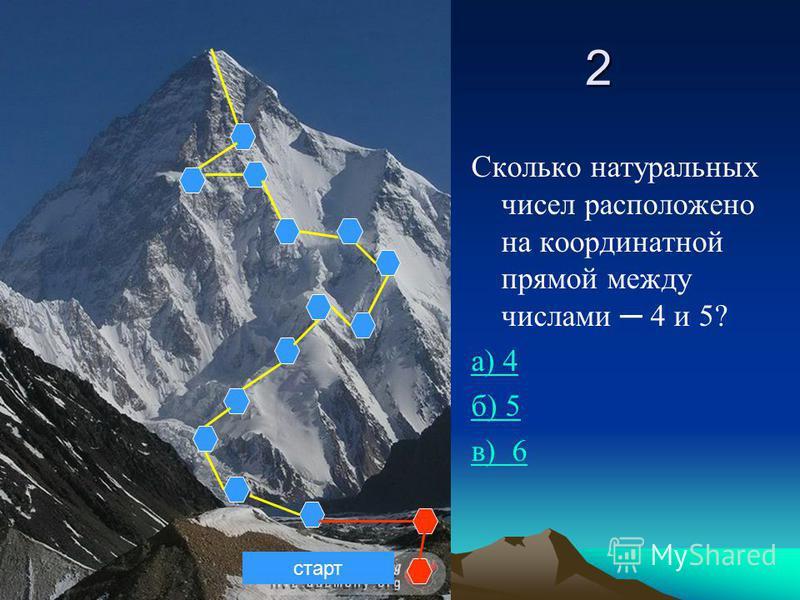 2 Сколько натуральных чисел расположено на координатной прямой между числами 4 и 5? а) 4 б) 5 в) 6 старт