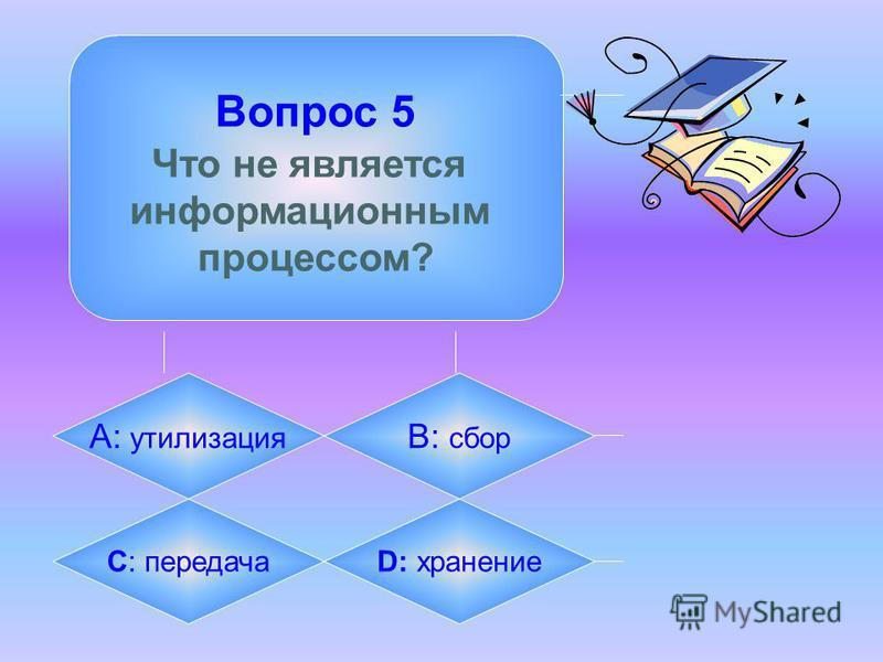 Вопрос 5 Что не является информационным процессом? А: утилизация B: сбор C: передачаD: хранение