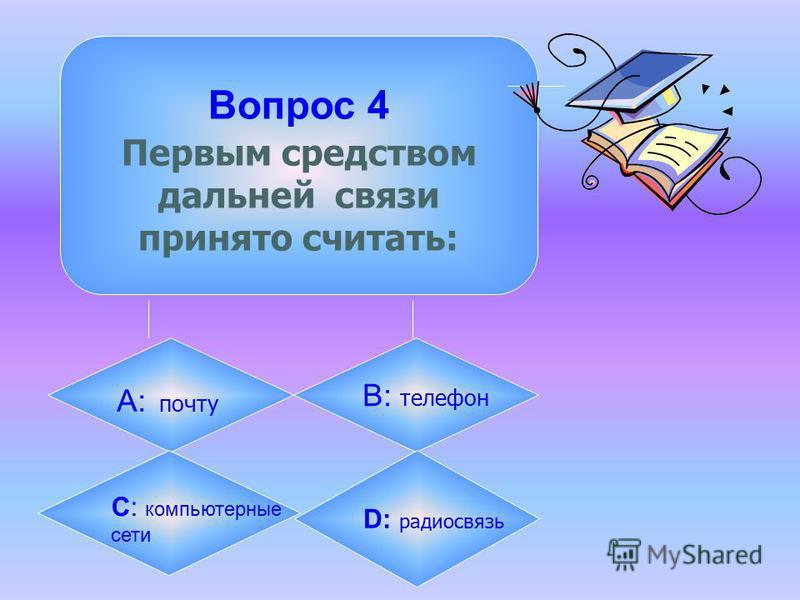 Вопрос 4 Первым средством дальней связи принято считать: А: почту B: телефон C: компьютерные сети D: радиосвязь