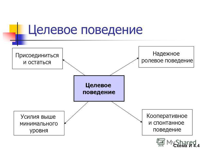 Целевое поведение Схема И 4.4 Целевое поведение Присоединиться и остаться Кооперативное и спонтанное поведение Надежное ролевое поведение Усилия выше минимального уровня