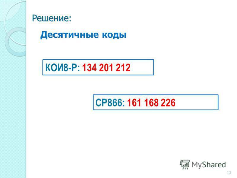 Решение: СР866: 161 168 226 КОИ8-Р: 134 201 212 Десятичные коды 13