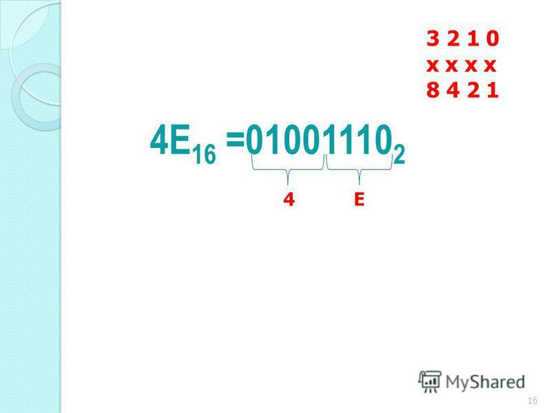 4E 16 =01001110 2 3 2 1 0 x x 8 4 2 1 4Е 16