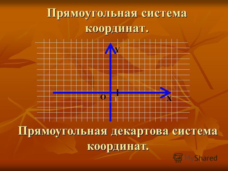 Прямоугольная система координат. Прямоугольная декартова система координат. 1 Y О Х