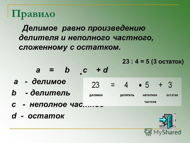 Правило Делимое равно произведению делителя и неполного частного, сложенному с остатком. a = b c + d a - делимое b - делитель с - неполное частное d - остаток 23 : 4 = 5 (3 остаток)