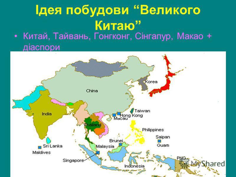 Ідея побудови Великого Китаю Китай, Тайвань, Гонгконг, Сінгапур, Макао + діаспори