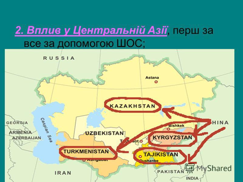 2. Вплив у Центральній Азії, перш за все за допомогою ШОС;