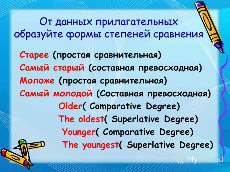 Приведите примеры прилагательных, обозначающих возраст: старый - молодой old - young