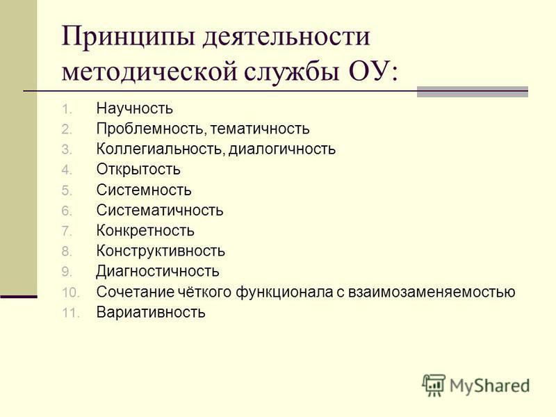 Принципы деятельности методической службы ОУ: 1. Научность 2. Проблемность, тематичность 3. Коллегиальность, диалогичность 4. Открытость 5. Системность 6. Систематичность 7. Конкретность 8. Конструктивность 9. Диагностичность 10. Сочетание чёткого фу