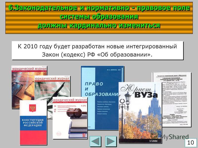 К 2010 году будет разработан новые интегрированный Закон (кодекс) РФ «Об образовании». 10