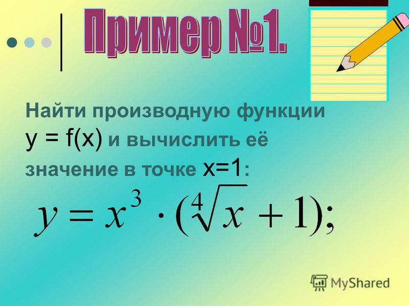 Найти производную функции y = f(x) и вычислить её значение в точке х=1 :
