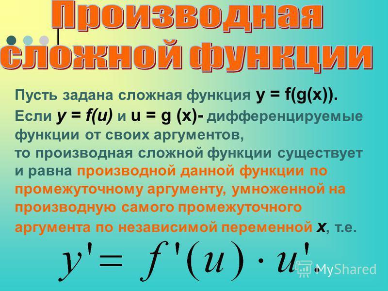 Пусть задана сложная функция y = f(g(x)). Если y = f(u) и u = g (x)- дифференцируемые функции от своих аргументов, то производная сложной функции существует и равна производной данной функции по промежуточному аргументу, умноженной на производную сам