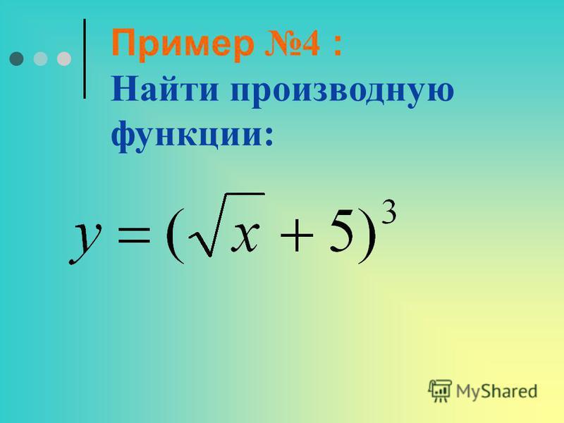 Пример 4 : Найти производную функции: