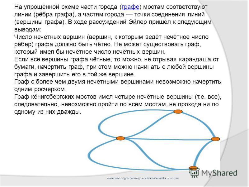 На упрощённой схеме части города (графе) мостам соответствуют линии (рёбра графа), а частям города точки соединения линий (вершины графа). В ходе рассуждений Эйлер пришёл к следующим выводам:графе Число нечётных вершин (вершин, к которым ведёт нечётн