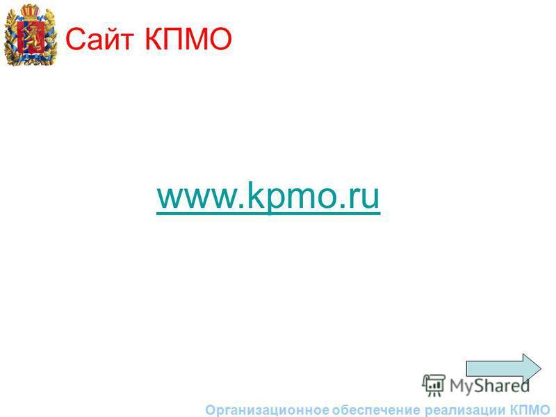 Сайт КПМО Организационное обеспечение реализации КПМО www.kpmo.ru