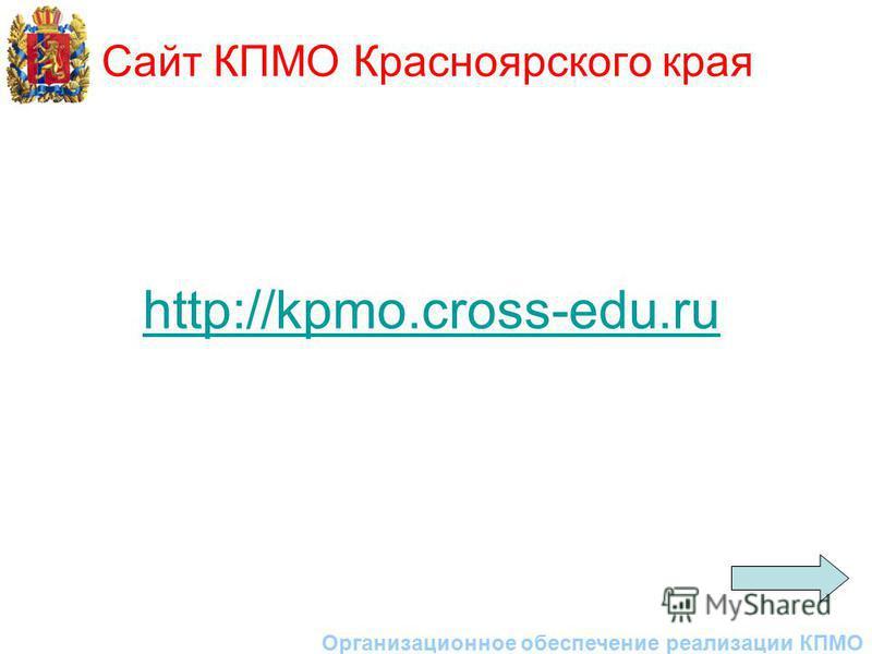 Сайт КПМО Красноярского края Организационное обеспечение реализации КПМО http://kpmo.cross-edu.ru