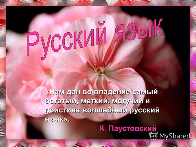«Нам дан во владение самый богатый, меткий, могучий и поистине волшебный русский язык». К. Паустовский