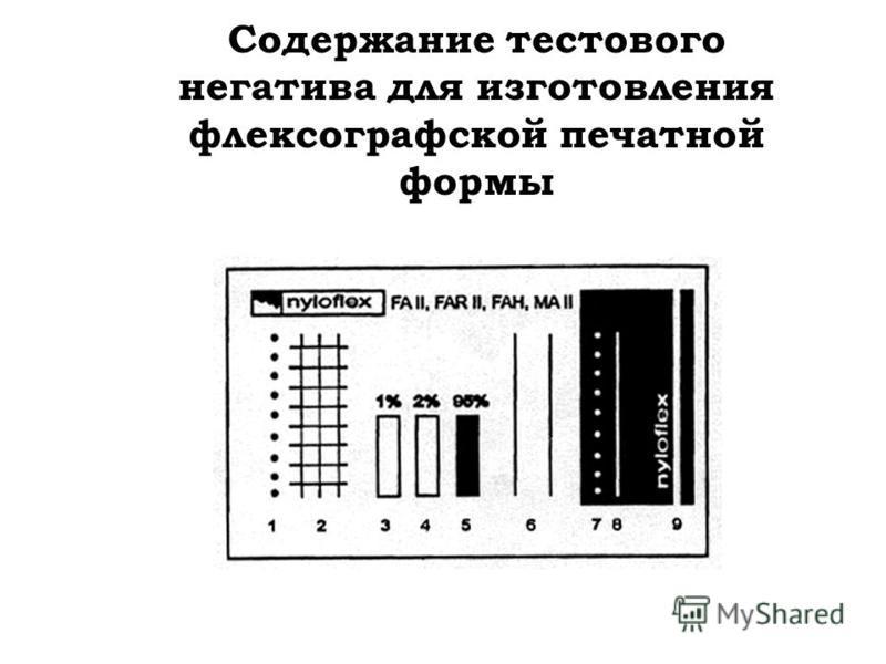 Содержание тестового негатива для изготовления флексографской печатной формы