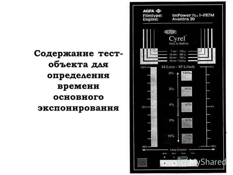 Содержание тест- объекта для определения времени основного экспонирования