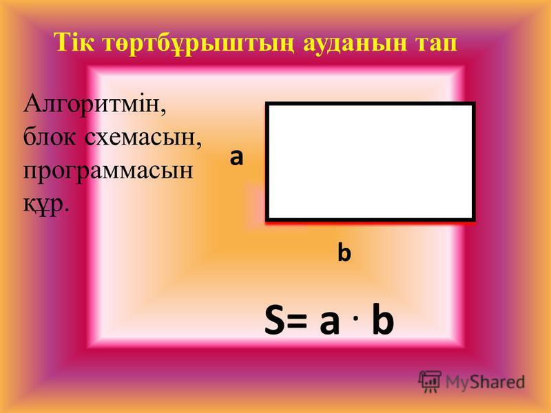Тік төртбұрыштың ауданын тап S= a. b a b Алгоритмін, блок схемасын, программасын құр.