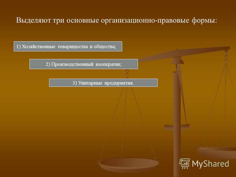 Выделяют три основные организационно-правовые формы: 1) Хозяйственные товарищества и общества; 2) Производственный кооператив; 3) Унитарные предприятия.