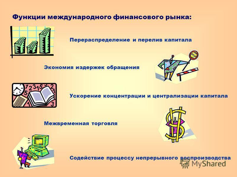 Функции международного финансового рынка: Перераспределение и перелив капитала Экономия издержек обращения Ускорение концентрации и централизации капитала Межвременная торговля Содействие процессу непрерывного воспроизводства