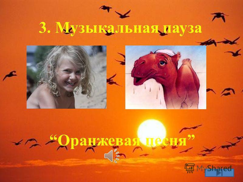 3. Музыкальная пауза Оранжевая песня