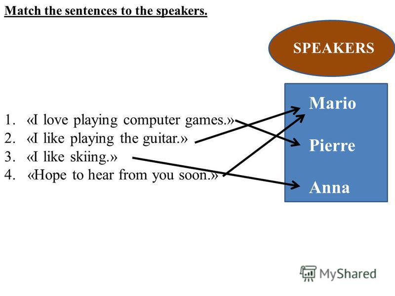 Match the sentences to the speakers. 1.«I love playing computer games.» 2.«I like playing the guitar.» 3.«I like skiing.» 4. «Hope to hear from you soon.» SPEAKERS Mario Pierre Anna