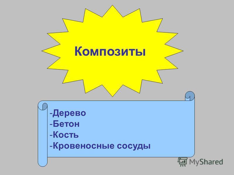 Композиты -Дерево -Бетон -Кость -Кровеносные сосуды