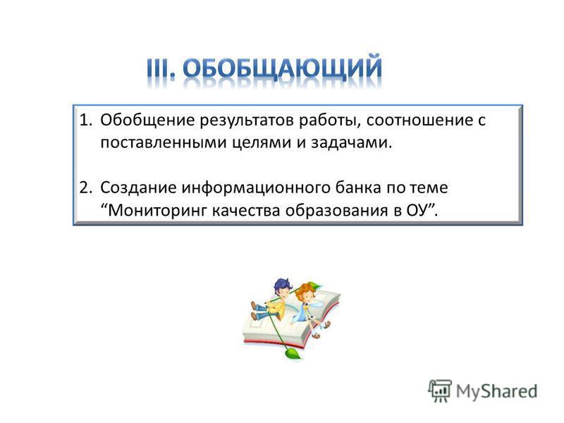 1. Обобщение результатов работы, соотношение с поставленными целями и задачами. 2. Создание информационного банка по теме Мониторинг качества образования в ОУ.