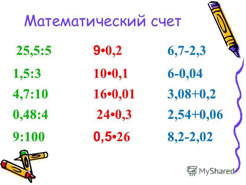 Математический счет 25,5:5 9 0,2 6,7-2,3 1,5:3100,16-0,04 4,7:10160,013,08+0,2 0,48:4 240,32,54+0,06 9:100 0,5 26 8,2-2,02