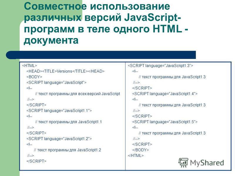 Совместное использование различных версий JavaScript- программ в теле одного HTML - документа Versions <!-- // текст программы для всех версий JavaScript //--> <!-- // текст программы для JavaScript1.1 //--> <!-- // текст программы для JavaScript1.2