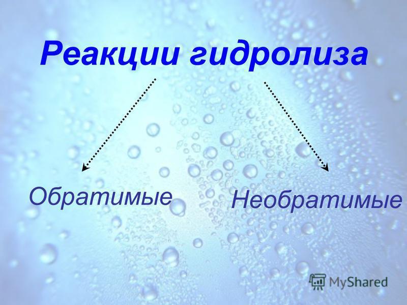 Реакции гидролиза Необратимые Обратимые