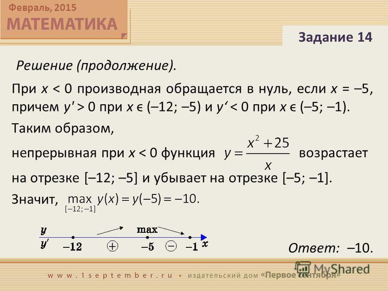 Февраль, 2015 Задание 14 Решение (продолжение). Ответ: –10. При x 0 при x ϵ (–12; –5) и y < 0 при x ϵ (–5; –1). Таким образом, непрерывная при x < 0 функция возрастает на отрезке [–12; –5] и убывает на отрезке [–5; –1]. Значит,