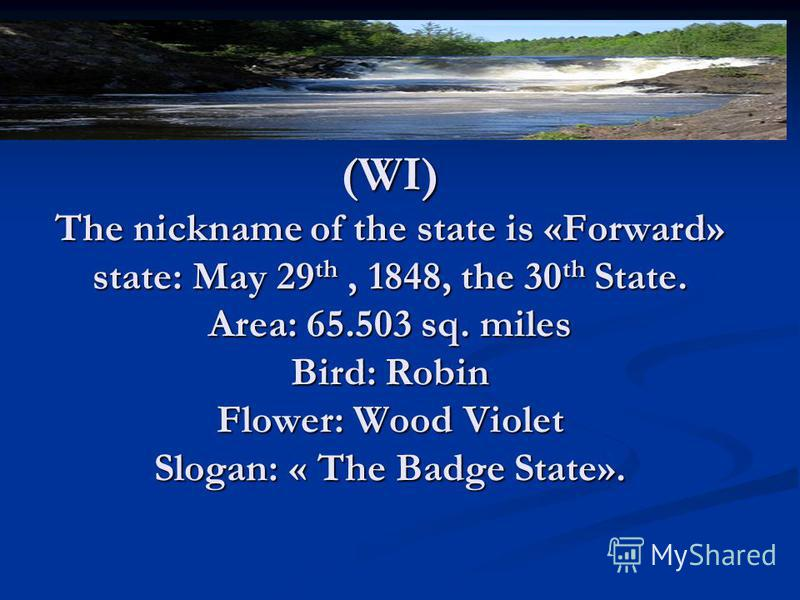Some words about Winconsion. (WI) The nickname of the state is «Forward» state: May 29th, 1848, the 30th State. Area: 65.503 sq. miles Bird: Robin Flower: Wood Violet Slogan: « The Badge State».