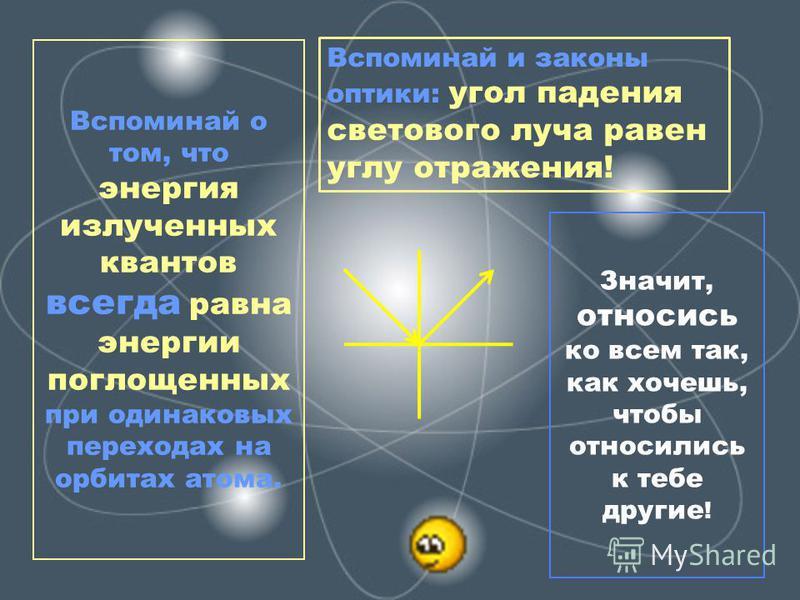 Значит, относись ко всем так, как хочешь, чтобы относились к тебе другие ! Вспоминай о том, что энергия излученных квантов всегда равна энергии поглощенных при одинаковых переходах на орбитах атома. Вспоминай и законы оптики: угол падения светового л