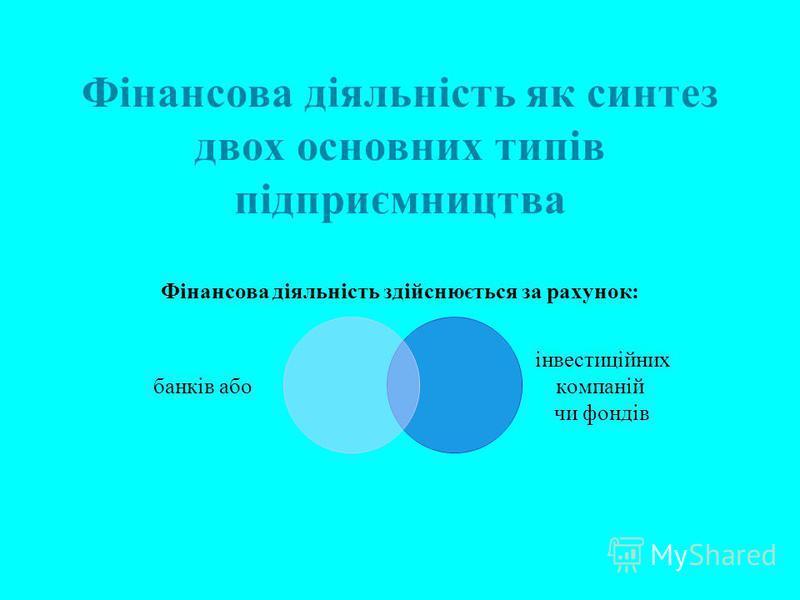 Фінансова діяльність як синтез двох основних типів підприємництва Фінансова діяльність здійснюється за рахунок: банків або інвестиційних компаній чи фондів