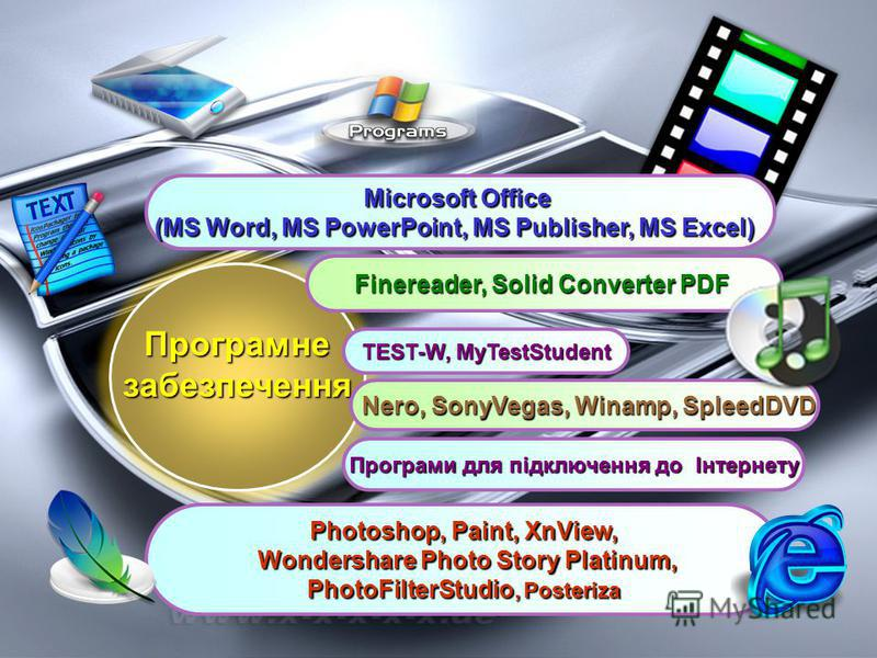 Програмнезабезпечення Finereader, Solid Converter PDF Photoshop, Paint, XnView, Wondershare Photo Story Platinum, Wondershare Photo Story Platinum, PhotoFilterStudio, Posteriza Nero, SonyVegas, Winamp, SpleedDVD Nero, SonyVegas, Winamp, SpleedDVD TES