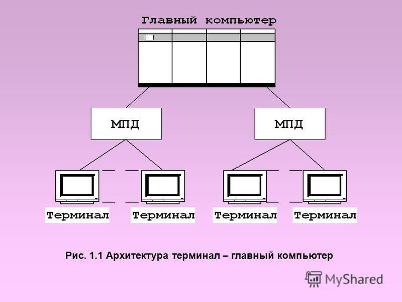 Рис. 1.1 Архитектура терминал – главный компьютер